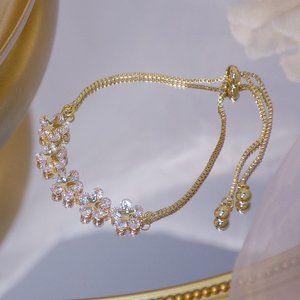 NEW 14K Gold Plated Diamond Flower Bracelet
